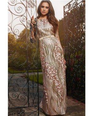 Little Mistress Gold and Mink Heavily Embellished Maxi Dress size: 6 U