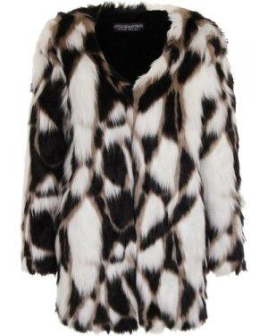 Little Mistress Monochrome Patchwork Faux Fur Jacket size: 14 UK, colo