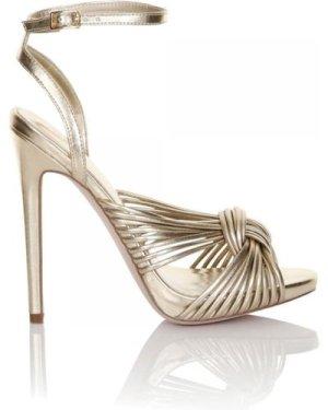 Little Mistress Footwear Gold Twisted Ankle Strap Heel size: Footwear