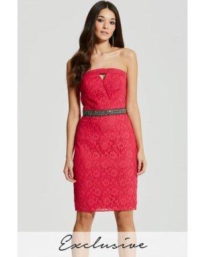 Little Mistress Pink Embellished Waist Lace Bandeau Dress size: 14 UK,