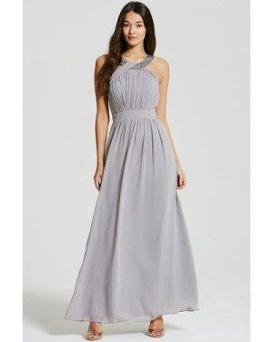Little Mistress Grey Embellished Chiffon Maxi Dress size: 14 UK, colou