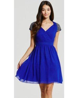 Little Mistress Blue Exposed Back Embellished Prom Dress size: 10 UK,