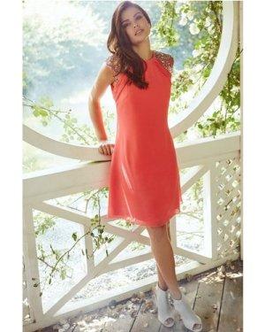 Little Mistress Coral Embellished Open Back Shift Dress size: 8 UK, co