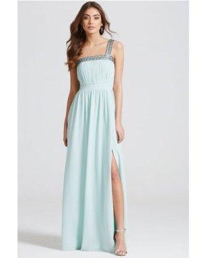 Little Mistress Mint Embellished Trim Maxi Dress size: 8 UK, colour: M