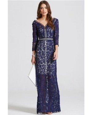 Little Mistress Navy Crochet Maxi Dress size: 12 UK, colour: Navy