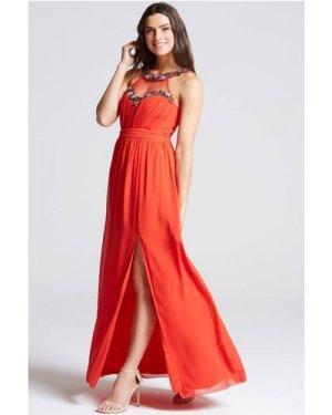 Little Mistress Tomato Red Embellished Trim Maxi Dress size: 12 UK, co