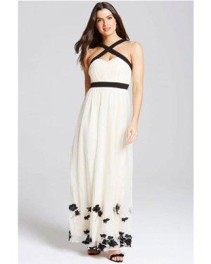 Little Mistress Beige Petal Applique Maxi Dress size: 14 UK, colour: B