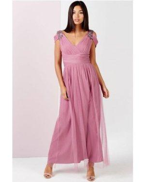 Little Mistress Rose Embellished Drape Shoulder Maxi Dress size: 16 UK