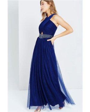 Little Mistress Navy Embellished Waist Maxi Dress size: 16 UK, colour: