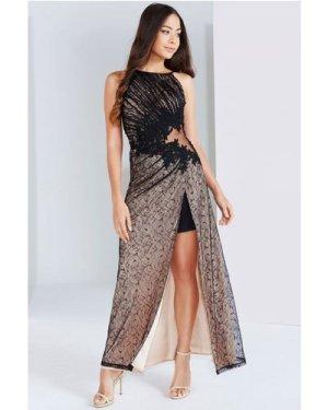 Little Mistress Black And Beige Lace Applique Maxi Dress size: 14 UK,