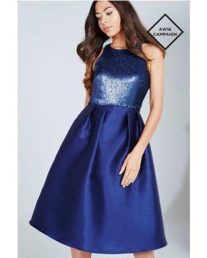 Little Mistress Navy Sequin Top Midi Dress size: 6 UK, colour: Navy
