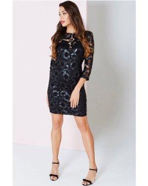 Little Mistress Black Floral Cut Out Wiggle Dress size: 6 UK, colour: