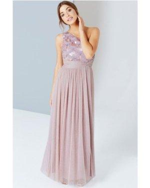 Little Mistress Mink Sequin One Shoulder Maxi Dress size: 12 UK, colou
