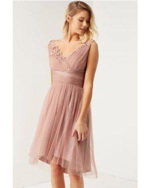 Little Mistress Rose Applique Mesh Prom Dress size: 6 UK, colour: Pink
