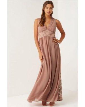 Little Mistress Apricot Lace Maxi Dress size: 12 UK, colour: Nude Apri