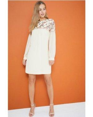 Little Mistress Cream Embroidered Shift Dress size: 12 UK, colour: Cre