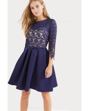 Little Mistress Navy Crochet Overlay Dress size: 8 UK, colour: Navy