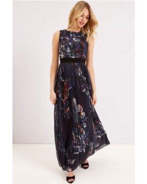 Little Mistress Print Maxi Dress With Pleat Skirt size: 12 UK, colour: