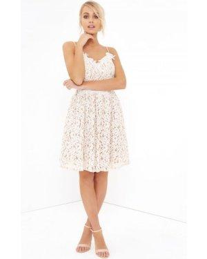 Little Mistress White Lace Midi Dress size: 16 UK, colour: White