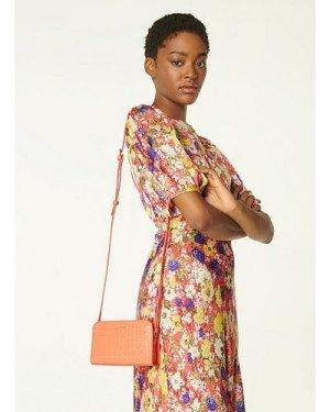 Mini Marie Apricot Croc-Effect Leather Crossbody Bag, Apricot