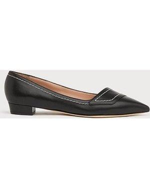 Polly Black Leather Contrast Stitch Flats, Black