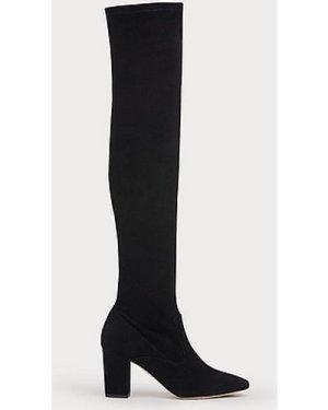 Zira Black Suede Knee Boots, Black