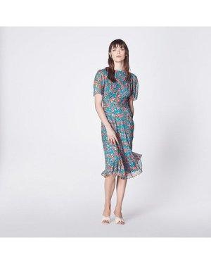 Eve Rose Garden Print Lurex Silk Dress, Multi
