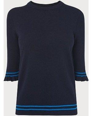 Allie Blue Stripe Knitted Top, Multi