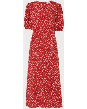 Simpson Bow Print Silk Tunic Dress, Red Multi