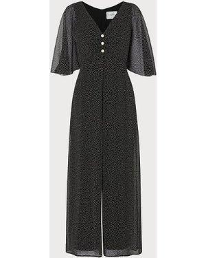 Harlow Black Crinkle Spot Jumpsuit, Black Cream