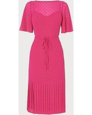 Boe Pink Self-Spot Midi Dress, Bright Pink