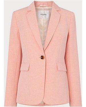Sweetpea Pink Linen-Blend Jacket, Pale Pink