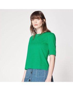 Saigon Green Ruched Sleeve T-Shirt, Fern Green