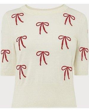 Adelin Cream Merino Wool Bow Embroidered Top, Multi