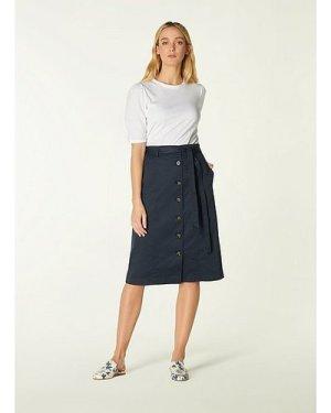 Sussex Navy Cotton Button-Through Skirt, Midnight