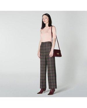 Ellen Grey Wide Leg Check Tweed Wool Trousers, Grey Pink