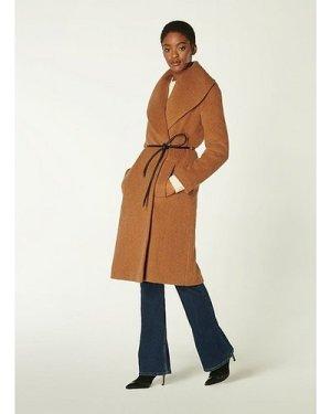 Manon Camel Wool-Blend Shawl Collar Coat, Camel