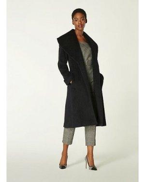 Manon Black Wool-Blend Shawl Collar Coat, Black