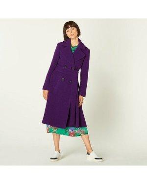 Alessandra Purple Bouclé Double-Breasted Coat, Purple