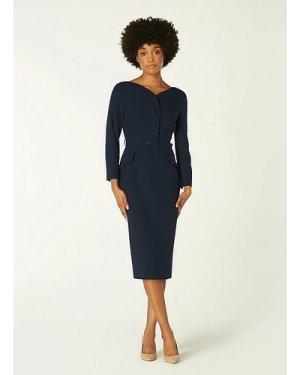Peggy Navy Button-Detail Shirt Dress, Midnight