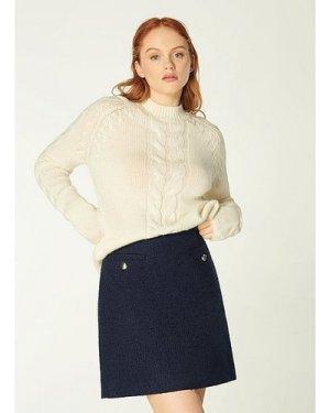Highbury Navy Tweed Skirt, Midnight