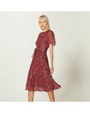 Eve Red Floral Print Silk & Lurex Dress, Red