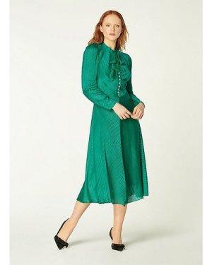 Kiera Green Silk Burnout Stripe Midi Dress, Emerald