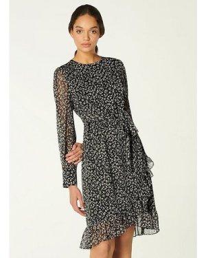 Dion Mini Cheetah Print Frill Hem Dress, Black