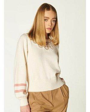 Odette Cream Merino-Cotton Lace Detail Jumper, Cream