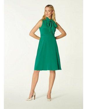 Edeline Green Silk Tie Neck Dress, Fern Green