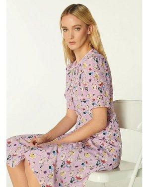 Montana Lilac Anemone Print Silk Tea Dress, Heather