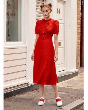 Sina Red Silk-Cotton Midi Dress, Bright Red