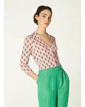 Aurelia Pink Rose Print Cotton Cardigan, Pink Multi
