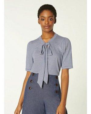 Cali Blue Fine Stripe Cotton-Modal Bow Detail T-Shirt, Dusty Blu